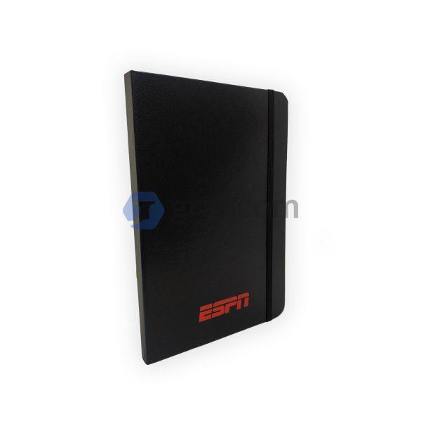 Cuaderno Corporativo Empresarial Negro Con Logo Y Banda Elástica